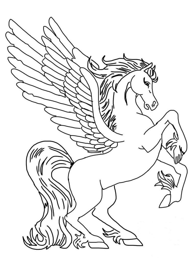 Ausmalbild Einhorn zum Ausdrucken mit Flügeln » Super Malvorlagen