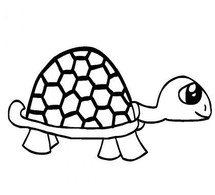Kaplumbağa Boyama Sayfası Çocuklar için