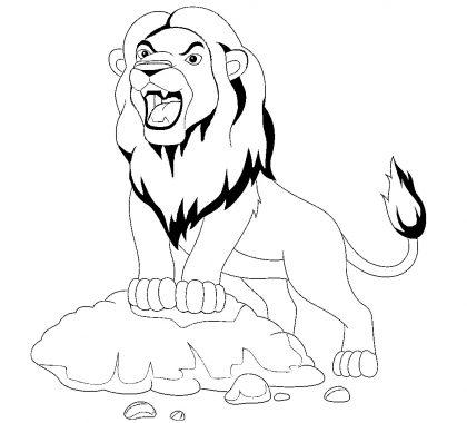 Orman Kralı Aslan Boyama Sayfası
